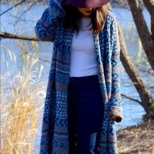 Free people blue and tan sweater.